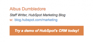 Email signature with CTA - Hubspot example
