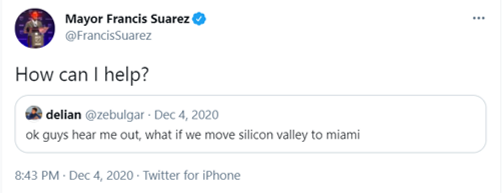 How can I help? Tweet from Mayor Francis Suarez