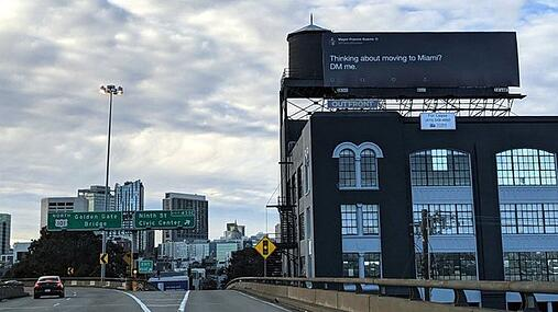 billboard near Twitter HQ in San Francisco